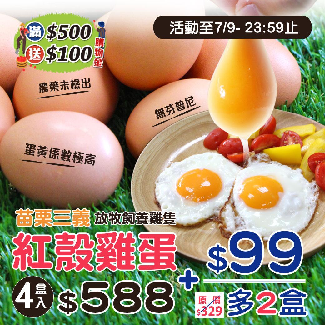 【三義】放牧紅殼雞蛋4盒